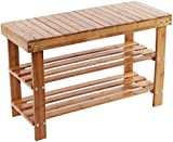 ARSUK 2 Tier Natural Bamboo Shoe Rack Bench Storage Organiser Holder 80 x 28 x 44cm