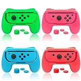 FYOUNG Poignées Compatible avec Nintendo Switch Joy-Cons, Grips pour Joy Con Soutien Mario Kart 8, Super Mario Odyssey, Pokken Tournament DX, Bleu/Rouge/Rose/Vert