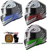Vcan V127hueca calavera motocicleta moto Crash pista casco rápido deportes ACU Full Face Azul y pasamontañas