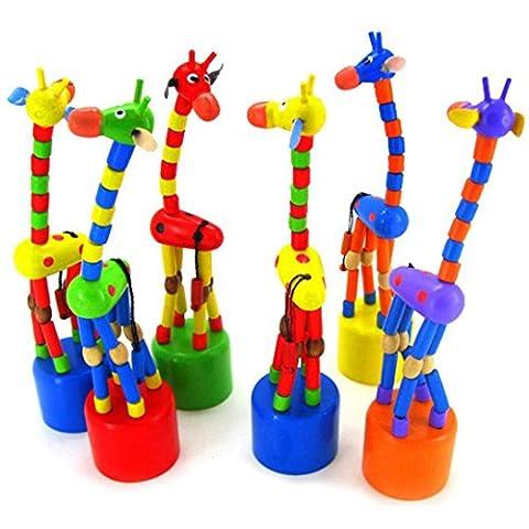 Kleinkindspielzeug Longra Kinder-Intelligenz-Spielzeug tanzen stehen bunte Schaukeln Giraffe Holzspielzeug