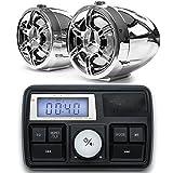 GoHawk 7.62cm Altoparlanti stereo moto Bluetooth impermeabile 22-25.4cm Supporto manubrio MP3 Music Player Sistema audio amplificatore audio Scooter ATV UTV w / AUX in, radio FM, USB, scheda SD, 12V