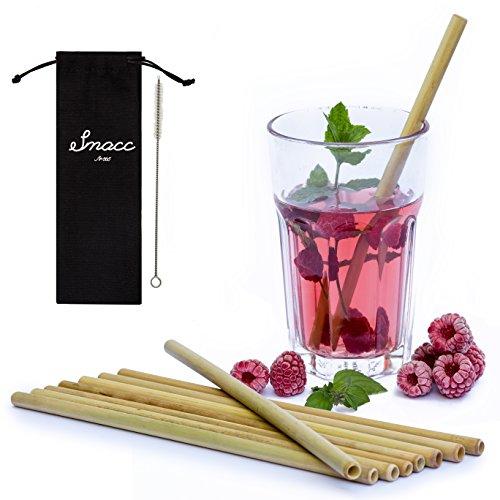 Smacc Bambus Strohhalme, Set aus 8 Trinkhalme + Reinigungsbürste + Stoffbeutel, umweltfreundliches, wiederverwendbares, 100% biologisch abbaubares Barzubehör, Bar Einrichtungsideen als Tischdeko