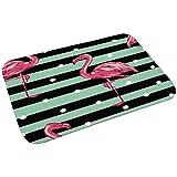 Demarkt Fußmatte Willkommen für Haustür Flur Innen und Aussen Fußabtreter Schmutzmatte Motiv Flamingo-Muster