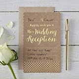 Ginger Ray Brown Kraft Spotty Foiled Gold Evening Invitations X10 - Kraft Perfection