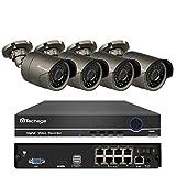 Techage 8CH 1080P POE NVR Système de vidéosurveillance intérieur extérieur étanche Kit de Surveillance de sécurité avec caméra IP 4PCS, sans Disque Dur