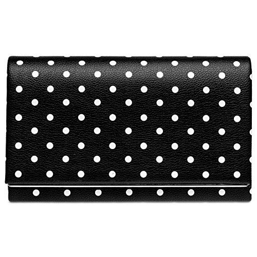 CASPAR TA425 ausgefallene Damen 50er Retro Envelope Clutch Tasche, Farbe:schwarz/weiße PUNKTE;Größe:One Size
