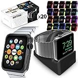 Orzly® ULTIMATE PACK para Apple Watch (42 MM) – Incluye el Orzly Nightstand y Multi-Pack de 20 Orzly Face Plates Surtidas en diferentes colores. Excelente pack de gran valor como regalo.