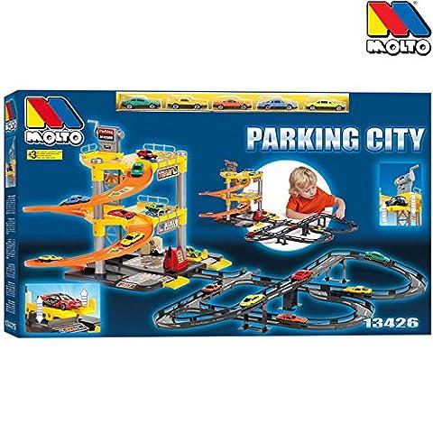 Parkgarage mit Spielstraße, 3 Ebenen, Abfahrtrampe, 5 Autos, ab 3 Jahren: Autogarage Aufzug 3 Spielzeug Garage Auto Parkhaus Rampe