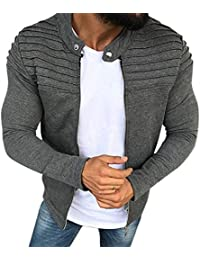 RONSHIN Men Fashion Solid Color Striped Tops Zipper Closure Casual Jacket