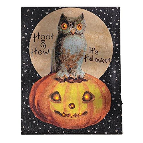25 Halloween Huhu-Eule Wandbild, Stoff, bunt, 2.5 x 30.5 x 40.5 cm (Halloween Wandbilder)
