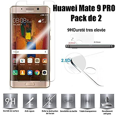 Huawei Mate 9 Pro Vitre protection d'ecran en verre trempé incassable Tempered Glass (Lot de 2) pour Huawei Mate 9 Pro
