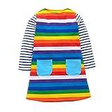 Zolimx striscia Arcobaleno Manica Lunga Cotone Vestito ,Bambini e ragazze (140, multicolore)