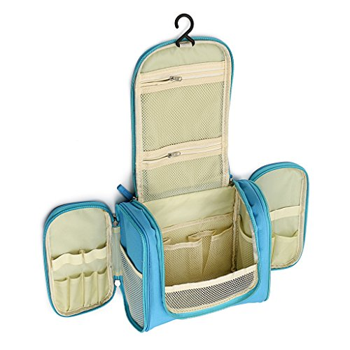 Sumnacon Trousse/Sac de Toilette avec Crochet, Suspendu,robuste Organiser maquillages ou pour Vacance (Bleu clair)