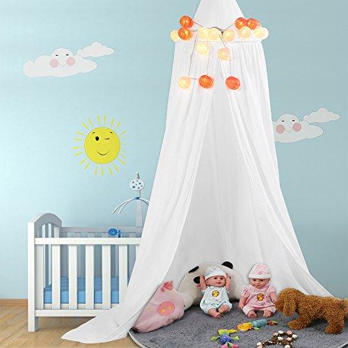 Betthimmel Baldachin aus Baumwolle Leinwand Deko Baldachin für Kinderzimmer Babybetthimmel auch als Mückenschutz Gute Luftzirkulation, mit Installation Tools, Höhe 235cm (Weiß)