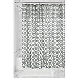 InterDesign Turkish Tile Fabric Shower Curtain, 183 x 183 cm - Gray/White