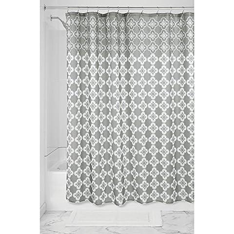 InterDesign Turkish Tile Duschvorhang | Designer Duschvorhang aus Stoff mit Ösen | 183,0 cm x 183,0 cm groß mit schönem Spa-Muster | Polyester grau/weiß