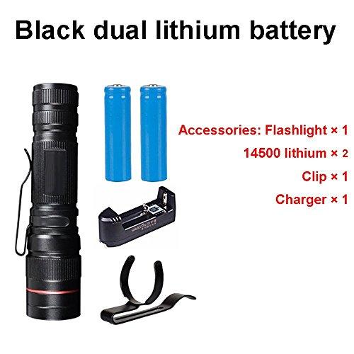 MUTANG LED-Taschenlampe Mini Wiederaufladbare Super Bright Waterproof Searchlight Home Outdoor-Langstrecken-Taschenlampe Multifunktions mit Batterie Silber, Schwarz (Farbe : C)