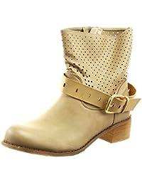 Sopily - Zapatillas de Moda Botines cavalier Tobillo mujer perforado Hebilla Talón Tacón ancho 4 CM - Camel