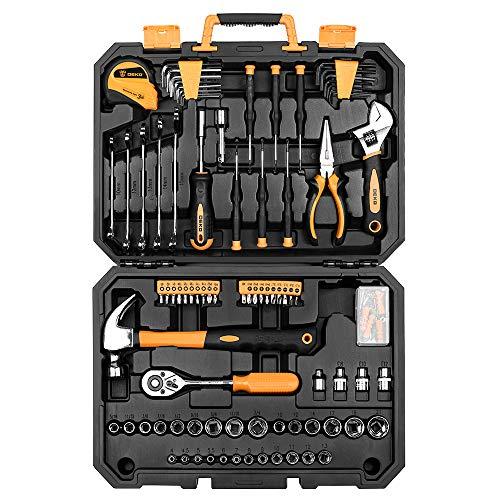 DEKO 128-teiliger Universal Werkzeugkoffer Repair Tool Set,Handwerkzeug Kit mit Kunststoff Werkzeug-Box
