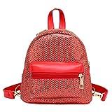 Beehari Donna Paillettes Zaino in pelle PU Zaini Donne Zipper Borsa a tracolla Zaini per adolescenti Rosso