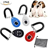 WisFox 4 Pcs Profi Clicker mit Elastischer Handschlaufe Haustier Hundetraining Clicker Big Button Clicker mit Handgelenk Band Strip für Haustier Clicker Training