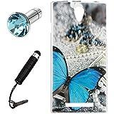 Lusee® Funda de silicona para Leagoo Elite 5 4G 5.5 Suave Cascara TPU mariposa azul
