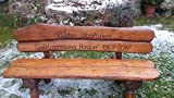 Gartenbank aus Massivholz mit Lasergravur von Ihrem Wunschtext (Zwei Bretter) | Parkbank aus Akazien- und Tannenholz | Perfekt als Hochzeitsgeschenk, Geschenk (Nussbaum)