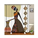AnazoZ Duschvorhang Anti-Schimmel, Wasserdicht Badewanne Vorhange Antibakteriell, Bad Vorhang für Dusche 3D Afrikanische Frau, 100% PEVA, inkl. 12 Duschvorhangringen 150 x 180 cm