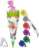 Unbekannt BASTELSET Schultüte -  Schmetterling & Blumen  - 85 cm - incl. individueller Schleife - mit / ohne Kunststoff Spitze - Zuckertüte - Set zum selber Basteln -..