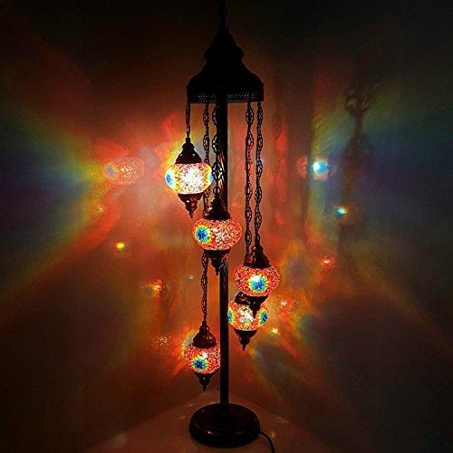 Turkish Moroccan Tiffany Style Glass Mosaic Floor Lamp Night Light - MC7 X 5 Bulb Floor Lamp