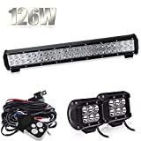 126W 20' LED Arbeitsscheinwerfer Scheinwerfer 12V 24V SUV + 2x 18W Offroad Lamp