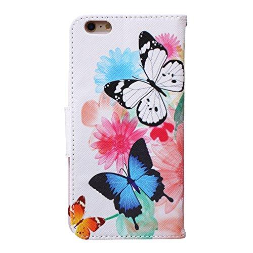 KATUMO® Apple iPhone 6S Plus schutztasche Premium PU Leder Case mit Kartenfächern und Standfunktion HanyHülle für iPhone 6/6S Plus Case Cover Schwarz Campanula Zwei Schmetterlinge