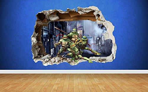 Teenage Mutant Ninja Turtles zerstörten Wandtattoo–Schlafzimmer Jungen Vinyl Wand Kunst, Large: 81cm x 58cm (Teenage Mutant Ninja Turtles Schlafzimmer)