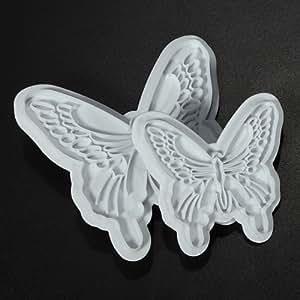 2PCS Weiß Kunststoff Schmetterling Kuchenplätzchen Mold Cutter Werkzeug verziert