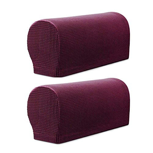 YINETTECH Purpurrot Paar Sessel Couch Sofa Armlehne Schonbezug Abdeckung Set mit Twisty Stift Strecken Polyestergewebe rutschfest Waschbar