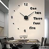 JGBFT Wanduhr DIY Groß Europa Wohnzimmer Wandsticker Mode Spiegel Stumm Kreativ Englische Buchstaben Uhr,Black