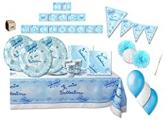 Idea Regalo - IRPot - KIT N 46 BATTESIMO FIOCCO CELESTE ADDOBBI FESTA COORDINATO EVENTO PARTY