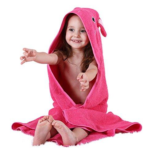 MICHLEY bambini Accappatoio Cotone Animale Viso Ragazze Abito da bagno di tovagliolo 0-6 anni, Rosa