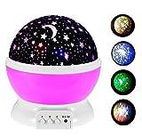 Gearmax® 360 grados Cielo Estrella Noche lámpara Estrella de la lámpara de iluminación de Habitación Romántica giratoria lámpara del proyector de la Noche(Rosa)