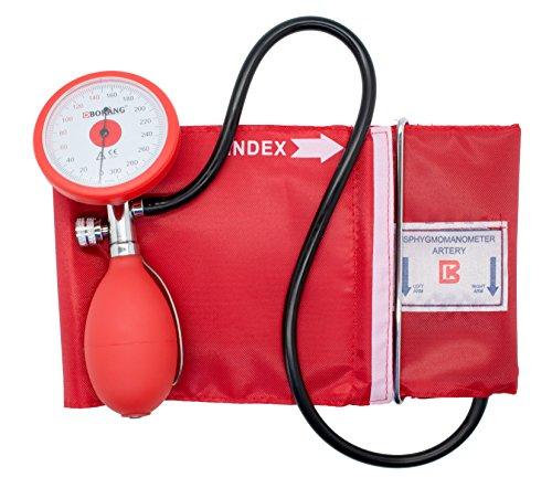 Manuelles Aneroid Blutdruckmessgerät mit Manschette   Mit Tasche   Farbe: rot