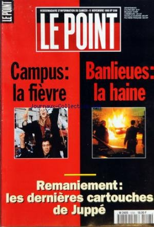 POINT (LE) [No 1208] du 11/11/1995 - LA LETTRE DE CATHERINE PEGARD - JACQUES FAIZANT - FRANCE - LEGISLATIVES PARTIELLES - LA DROITE EN TENAILLE - INTERVIEW - LE FN VA PROGRESSER - LONDRES - LE VIVIER ISLAMISTE - ATTENTATS - DES FILIERES TRES CONNECTEES - NOIR - LE PROCES D'UN HOMME SEUL - AFFAIRES - LES BORNES DE LA LOI - LE GRAND CAPITAL DES MAIRES - EN FORME, EN PANNE - MONDE - POLOGNE - WALESA EN FAVORI - ALLEMAGNE - SCHARPING EN PANNE - ITALIE - AND