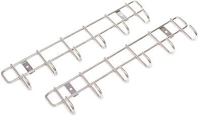 Embassy Stainless Steel Hook Patti / Rail, Size 6, 35x4x9 cms, Multipurpose Hanger for Bathroom / Kitchen / Wardrobe (Pack of 2; 6 Hooks)