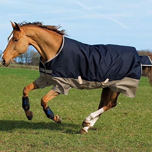 Horseware Amigo Mio Turnout Lite 0g - Navy & Tan with Navy - Weidedecke, Groesse:140