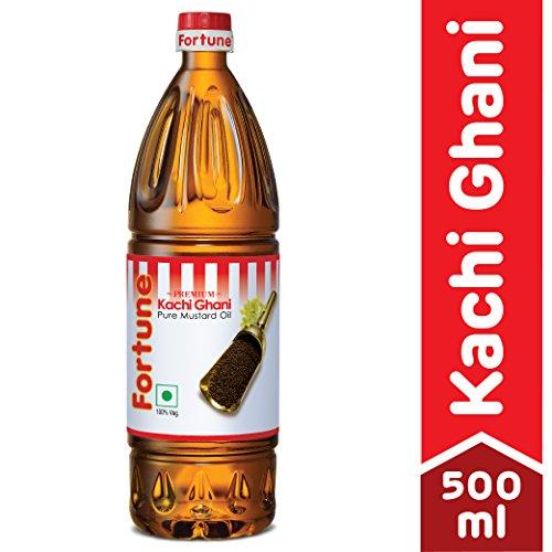 Fortune Kachi Ghani Oil, Mustard, 500ml (Pet Bottle)