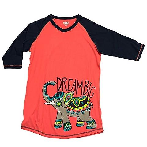 Lazy One TLS302 Women's Dream Big Elephant Red and Black Cotton Pajama Pyjama Top XL