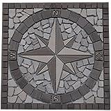 Marmor Rosone 30x30 cm Kompass Windrose Naturstein Mosaik Einleger Fliesen Natur 032