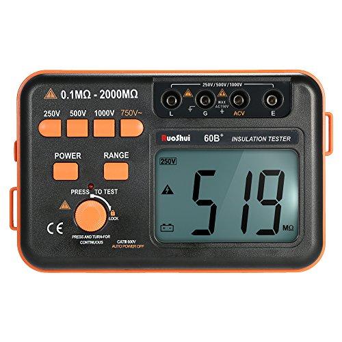 KKmoon 60B + 1000V Misuratore di Resistenza di Isolamento Tester di Terra Misuratore di Portata Megaohmmetro con Display LCD Retroilluminato