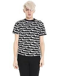 Pizoff Unisex Hip Hop Kurz Schwarz T Shirt mit Ziffer Druckmuster Metall Stern