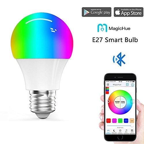 MagicHue Neu Smart LED Bluetooth Gegenwert 40W RGBW Lampe, 16 Mio Farben und DIY Leuchtmittel dimmbar Bulbs, Timer/Wecker, Musik & Mic Beleuchtung E27 für Android und IOS (Beleuchtung Farbe Schutz)