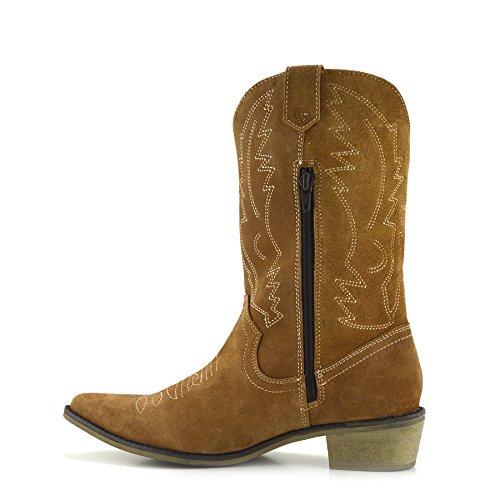 Donna Marrone Punta Di Da Ovest Stivali Cowboy Signore Pelle Di Indicò Larga Vitello In Scamosciata Chiaro xq6wSY4R6